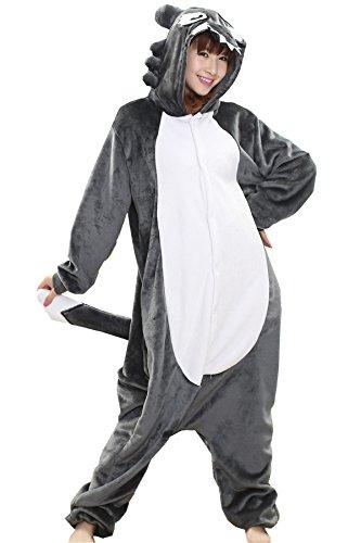 MizHome Wolf One-Piece Kigurumi Pajamas Anime Costume Cosplay Sleepsuit L Grey -