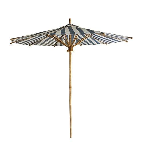 ZEW Bamboo Umbrella, Navy and White Stripes Canvas ()