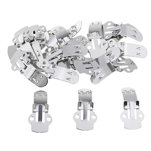 MagiDeal Wholesale 20 Pieces Stainless Steel Flat Blank Shoe Clips Bulk Supplies for DIY Crafts(3 Sizes) - Medium