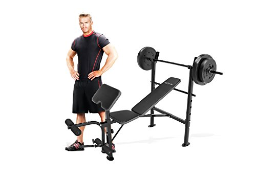 Marcy Competitor Workout Bench with 80 lbs weight Set Combo (black) CB 20110