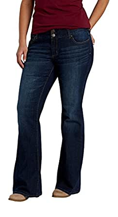 Maurices Women's Plus Size Kaylee Two Button Flare Jeans In Dark Wash 18 Dark Sandblast