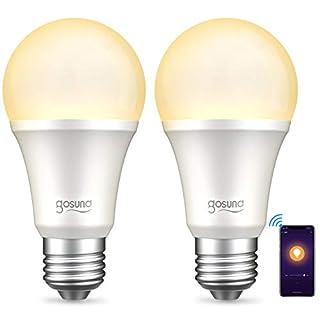 Smart Light Bulb Works with Alexa Google Home, Gosund WiFi Smart Bulb, Alexa Light Bulbs Dimmable No Hub Required WiFi Led Bulb A19 E26 2700K Warm White 8W Lights 2pack