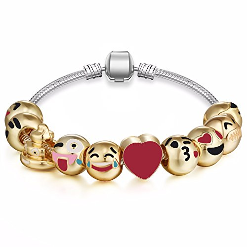 [Emoticon Charms Bracelet - 18K Gold Plated With 10 Pieces of Interchangeable Ena...] (Cute Unique Costumes)