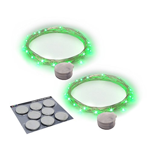 RTGS Products Green Colored LED Lights Indoor Outdoor String Lights, Fairy Lights Battery Powered Patio, Bedroom, Holiday Decor, etc. (Green Color 20 LEDs 7.5 FEET 2 Sets)