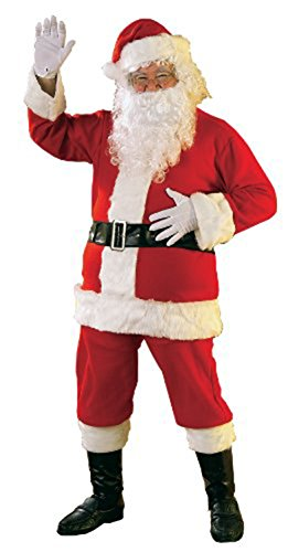 Flannel Santa Suit with Beard and Wig, Red/White, Standard