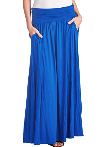 TRENDY UNITED Women's High Waist Fold Over Shirring Maxi Skirt with Pockets ,Royal Blue-maxi,Small