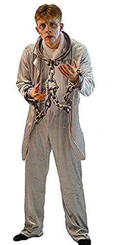 Scrooge Christmas Carol Costumes (World Book Day-Dickens-A Christmas Carol-Scrooge-Halloween Jacob Marley Ghost Men's Fancy Dress Costume - All Men's Sizes (Large))