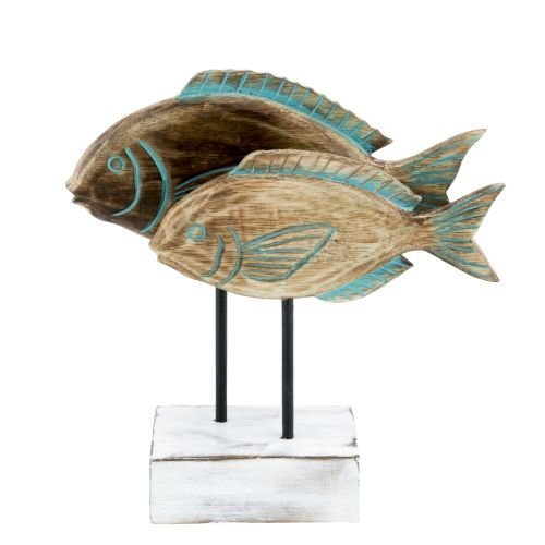 2 Fish on Stand w/Teal Wash Nautical Shore Decor Nautical Sculpture