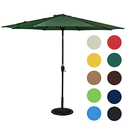 Sundale Outdoor 9 Feet Aluminum Market Umbrella Table Umbrella with Crank and Push Button Tilt for Patio, Garden, Deck, Backyard, Pool, 8 Steel Ribs (Dark Green)