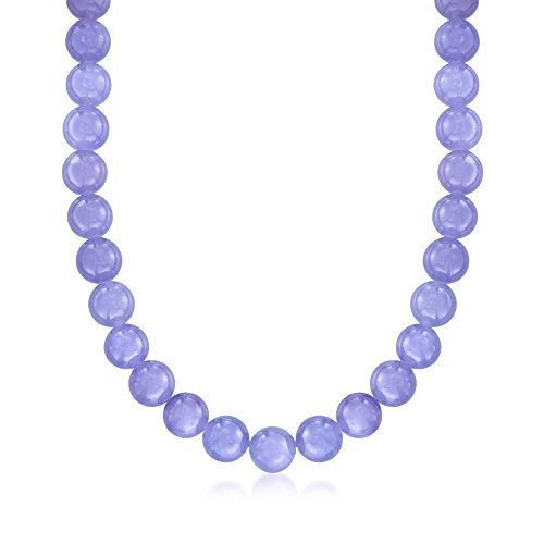 Ross-Simons 10mm Lavender Jade Bead Necklace With 14kt Yellow Gold