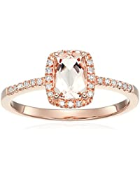 14k Rose Gold Cushion-cut Morganite and Diamond Halo Engagement Ring (1/10 cttw, H-I Color, I1-I2 Clarity), Size 7