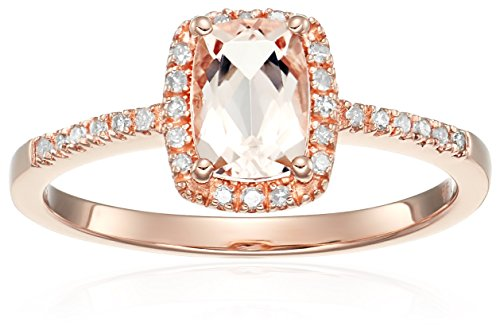 Cut I Rose - 14k Rose Gold Cushion-cut Morganite and Diamond Halo Engagement Ring (1/10 cttw, H-I Color, I1-I2 Clarity), Size 7
