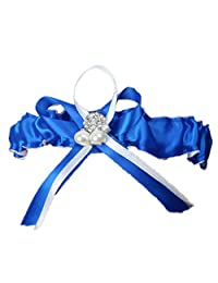 FAIRY COUPLE Wedding Accessories Bridal Garter Satin with Rhinestone&Pearl A-G010 (Small/ 18 Inches, Royal Blue)