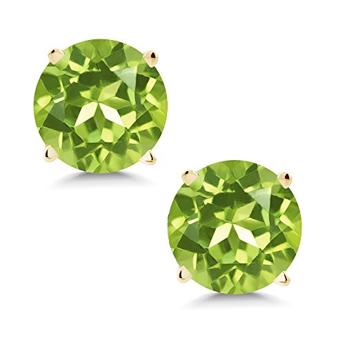 Gem Stone King 14K Yellow Gold Green Peridot Stud Earrings 1.70 Cttw Round Gemstone Birthstone 6MM