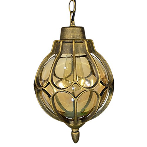 OOFAY Vintage Outdoor Chandelier Ball Waterproof Patio Grape Rack Corridor Balcony Villa Patio Landscape Light,Gold,28Cm