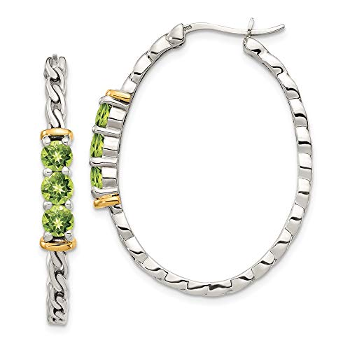 925 Sterling Silver 14k Accent Green Peridot Hoop Earrings Ear Hoops Set Fine Jewelry Gifts For Women For Her ()