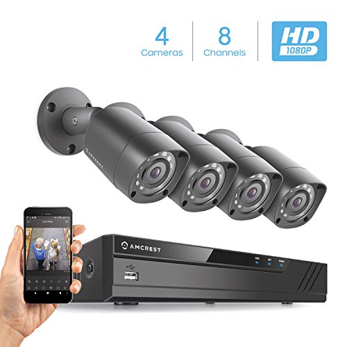 Amcrest Full-HD 1080P 8CH Video Security System w/ Four 2.0 MP (1920TVL) Outdoor IP67 Bullet Cameras, 66ft Night Vision, Hard Drive Not Included, - Camera Night B&w Ir Vision