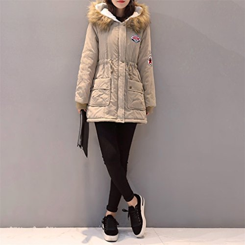 Mujer Outwear E Casual Abrigos Invierno Larga Taille Chaquetas Ocio Manga Kaki Otoño Encapuchado Suelto Coat Honghu 4FdBwq4
