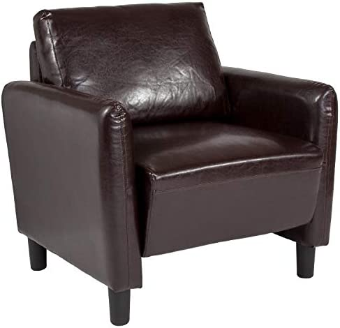 Taylor Logan Upholstered Living Room Chair with Rounded Arms, Brown Leather