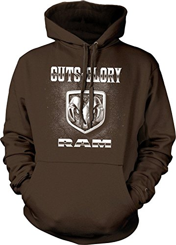 - Guts and Glory RAM, RAM Trucks, Dodge Trucks Hoodie Sweatshirt, Brown, XX-Large