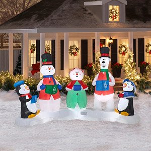 CHRISTMAS DECORATION LAWN YARD INFLATABLE CAROLERS MUSICAL LIGHT SHOW  INCLUDES REMOTE CONTROL AND BATTERIES 7u0027