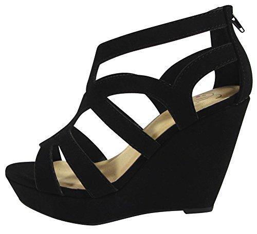 Delizioso Sandalo Da Donna Con Plateau Con Zeppa, Nabuk Nero