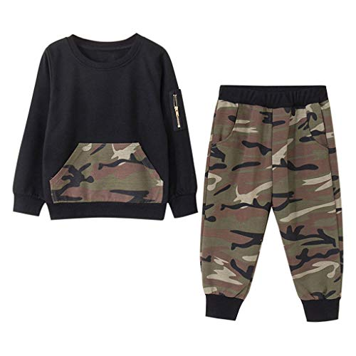 2Piece Toddler Baby Boys Outfits Camouflage Long Sleeve with Zipper Pocket Pullover Sweatshirt Pants Set ()