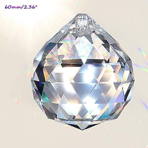 MerryNine Clear Crystal Ball Prism Suncatcher Rainbow Pendants Maker, Hanging Crystals Prisms for Windows, for Feng Shui, for Gift(60mm/2.36