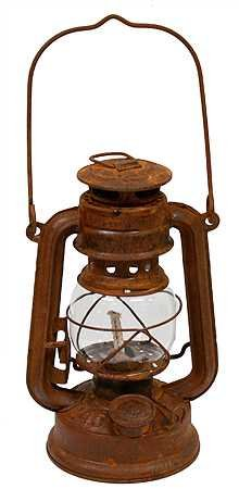 Primitive Antique Style Rusty Reproduction Railroad Lantern, Outdoor Stuffs