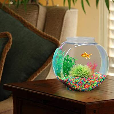 Koller Products 1-Gallon Fish Bowl, Shatterproof Plastic with Crystal Clear Clarity
