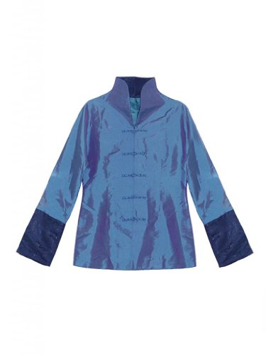 Goodorient Women's Simple and Elegant Thai Silk Jacket Size US 10 Blue