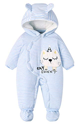 Little Kids Sleep Sack Autumn Winter Unisex Thicken Lovely Classic Cartoon Cotton Snowsuit Warm Romper (9-12 Months) Blue