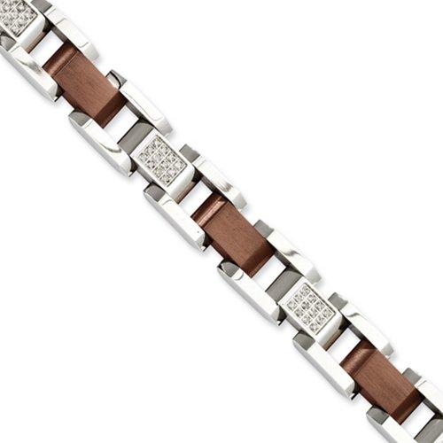 Icecarats Créatrice De Bijoux En Acier Inoxydable Plaqué Chocolat W / 8.5In Diamants Bracelet En 8,5 Pouces