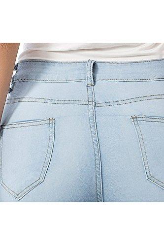Sospensorio Stretti Si Lightblue Moda Alla Jeans Donne Pantaloni Le IxP1w46EqS
