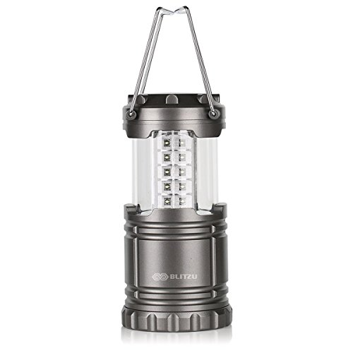 Ultra Bright Portable LED Camping Lantern Flashlights- Blitzu Optimus G100 – Collapsible – Suitable for Hiking, Camping, Emergencies, Hurricanes, Outages. 30 LEDs – Water Resistant – Platinum Gray.