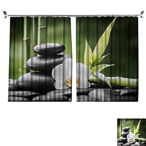 Fabric high Density Zen Basalt Stones,Orchid and Bamboo Shading for Bedroom W96 x L108 ()