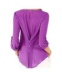 Women's Long Sleeve Back Button-down V Neck Irregular Chiffon Blouse Top Plus Size