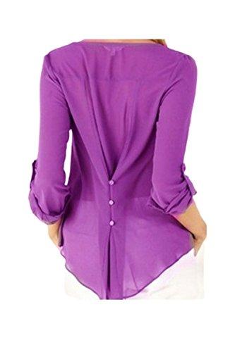 Las Mujeres De Manga Larga Cuello V Gasa Irregular Vuelta Botones Blusa Top Plus Size Purple