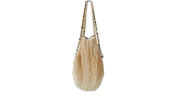 Bolsa de red de algodón natural, reutilizable, bolsa de compras con asas largas, lavable, fruta y verduras, beige, Large: Amazon.es: Hogar