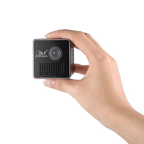 Docooler Cube DLP Projector Ultra mini 1080P HD Beamer Throw 70-inch Screen 64G TF Card Support 1000mAh Rechargeable 3.5mm Audio port for Home Outdoor Use