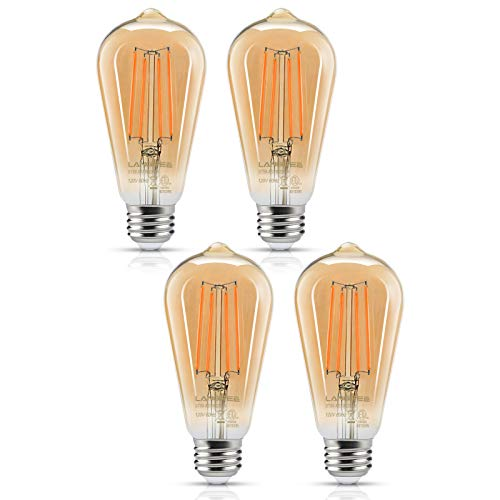 Warm White Bulb - LED Edison Bulb 6W Vintage Light Bulb, 60W Equivalent 700 Lumen 2200k Amber Warm Glow, Non-Dimmable Filament Bulbs E26 Medium Base, Decorative Clear Glass for Bathroom Kitchen Dining Room, Pack of 4