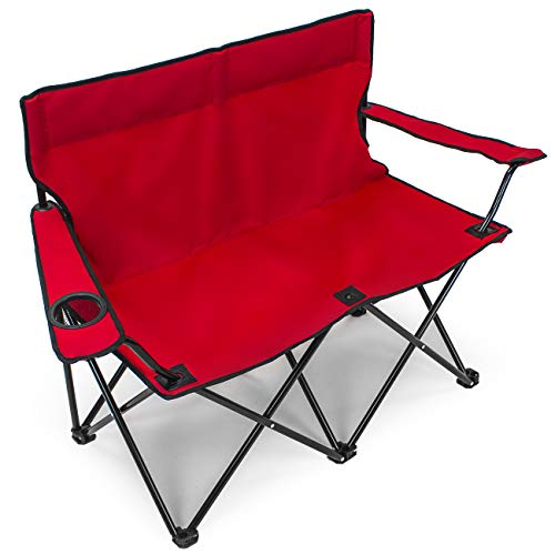Sorbus Double Folding Chair with Cup Holder Cooler, Foldable Frame, and Portable Carry Bag, Great Loveseat Outdoor Chair for Camping, Sporting Events, Travel, Backyard, Patio, etc (Double Chair – Red)