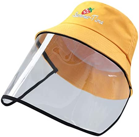 SIN vimklo Solid Color Adult Big Kids Anti-Spitting Protective Hat Face Shield Dustproof Cover Fisherman Cap Outdoor Hat