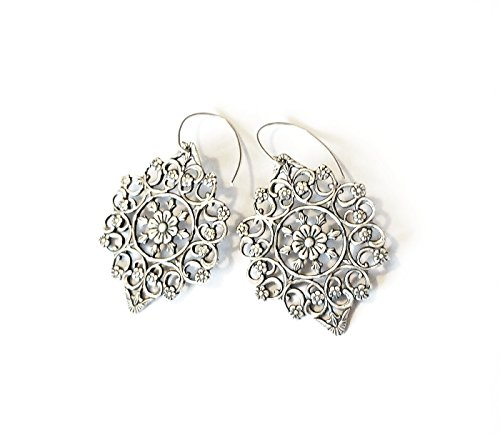 Silver Artisan Filigree Earrings - Floral filigree statement earrings - silver plated with solid sterling silver ear wires