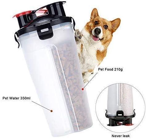 plegables laamei Botella de agua para perros y comedero morado paseos botella con 2 cuencos de silicona para perros camping 2 en 1 tazones de viaje para viajes