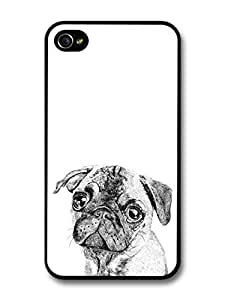 Pug Dog Black and White Sweet Funny Illustration case for iPhone 4 4S