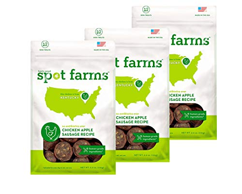 Spot Farms (Pack of 3) All Natural Human Grade Dog Treats, Chicken Apple Sausage, 6.0 Ounce