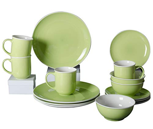 Xiteliy Ceramic Dinner Plate Sets, Plates, Bowls, Mugs, 4 Piece,Service For 4 (16, Green)
