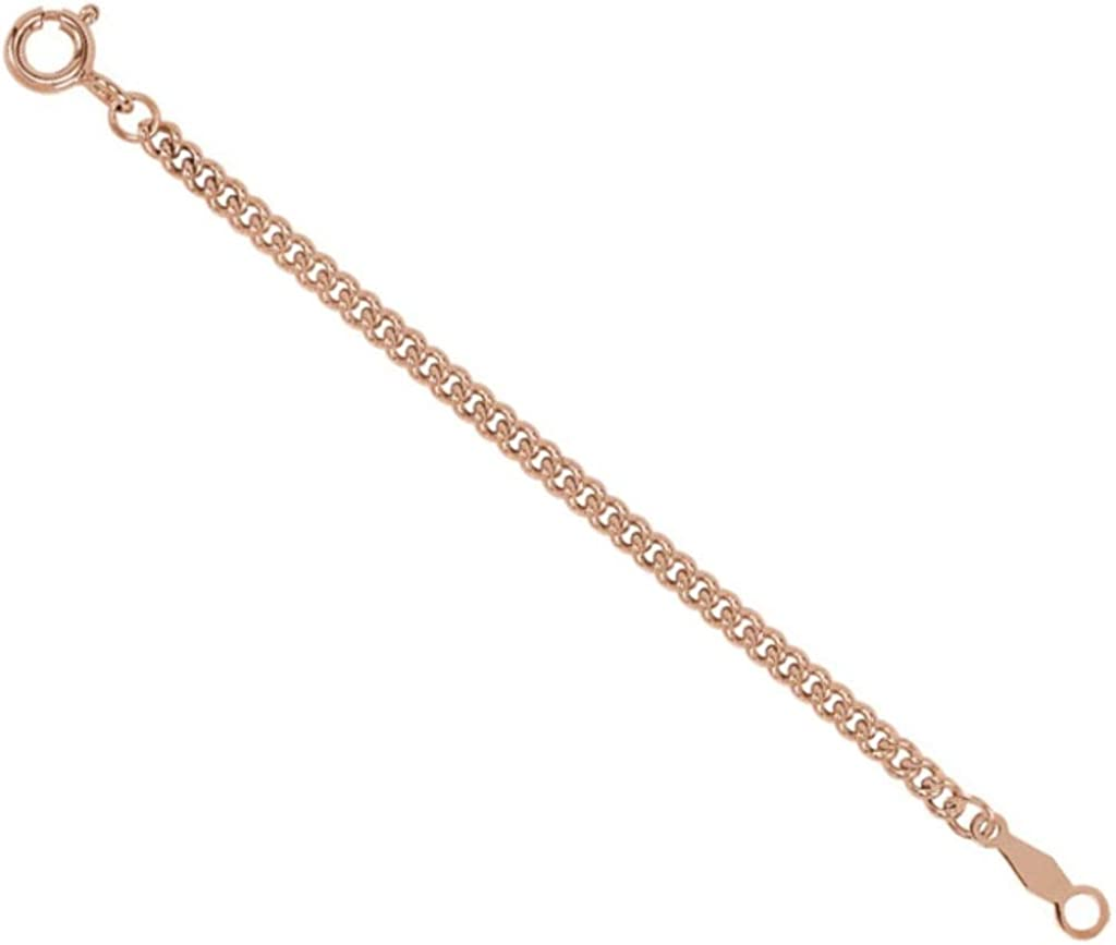 14k Rose Gold Curb Chain 2 20mm Necklace Extender Safety Chain 2 20mm Jewelry Necklaces