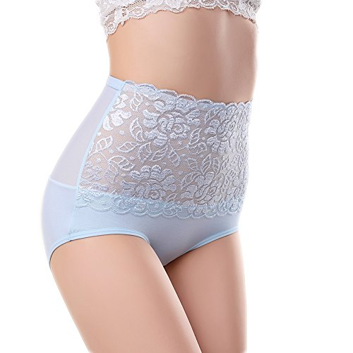 Sbra Women's High Waist Lace Panties Comfortable Underwear with High Elastic (2XL, Light blue) (Lace Band Panties)